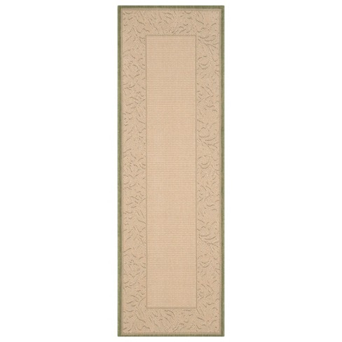 "Violetta Rectangular 2'3"" X 10' Outdoor Rug - Olive / Natural - Safavieh® - image 1 of 3"
