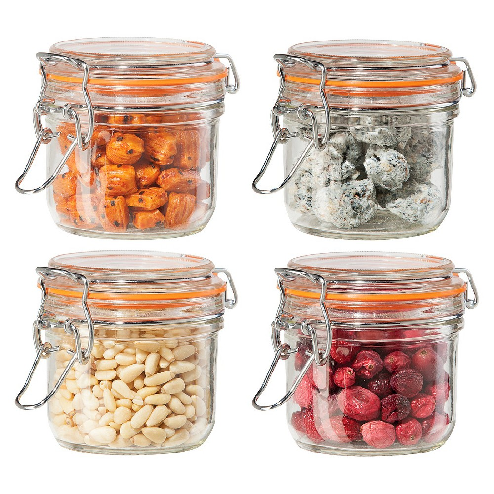 Image of Oggi 4 Piece Airtight Glass Canister Set with Clamp Lids and Silicone Gaskets, Clear