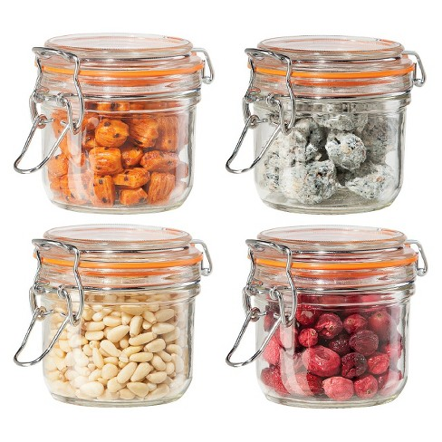 Oggi 4 Piece Airtight Glass Canister Set With Clamp Lids And