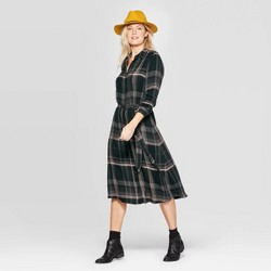 Women's Plaid Long Sleeve Midi Shirt Dress with Tie Belt - Universal Thread™ Green