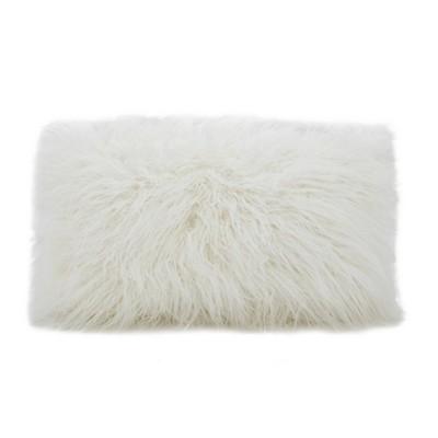 Poly Filled Faux Mongolian Fur Throw Pillow  - Saro Lifestyle