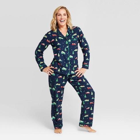 Women's Holiday Car Flannel Pajama Set - Wondershop™ Navy - image 1 of 3