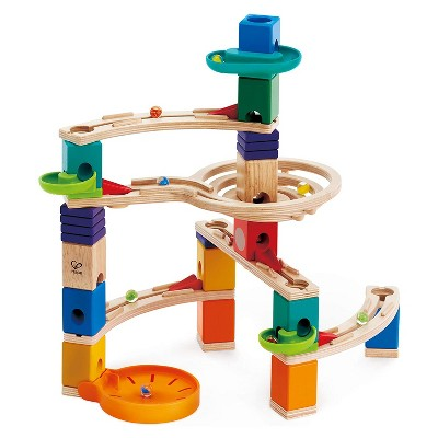 Hape E6020 Quadrilla Cliff Hanger Multi-Color Wooden Marble Educational Toy Run Construction Building Set for Ages 4 & Up, 101-Piece