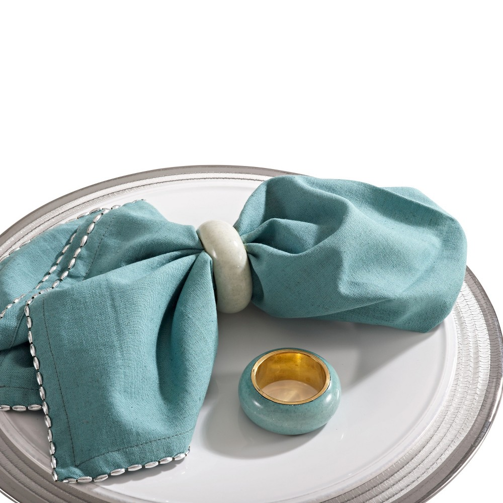 Image of Dome Design Napkins Rings - Sea Green (Set of 4)