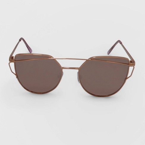 Women's Aviator Metal Silhouette Sunglasses - Wild Fable™ Rose Gold - image 1 of 2