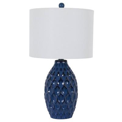 "24.5"" Tamara Faceted Ceramic Table Lamp - Dark Blue - Decor Therapy"