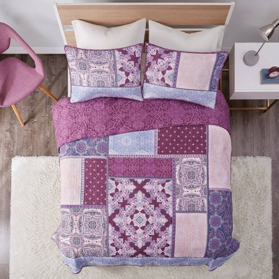 Lena Printed Reversible Cotton Coverlet Set