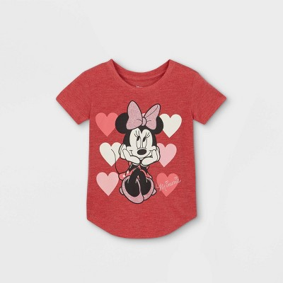 Toddler Girls' Minnie Mouse Hearts Valentine's Day Short Sleeve Graphic T-Shirt - Pink