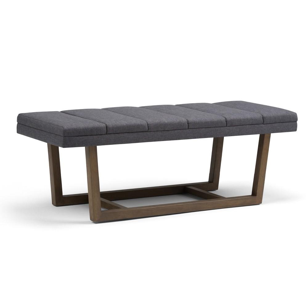 Harley Ottoman Bench Slate (Grey) Gray Linen Look Fabric - Wyndenhall