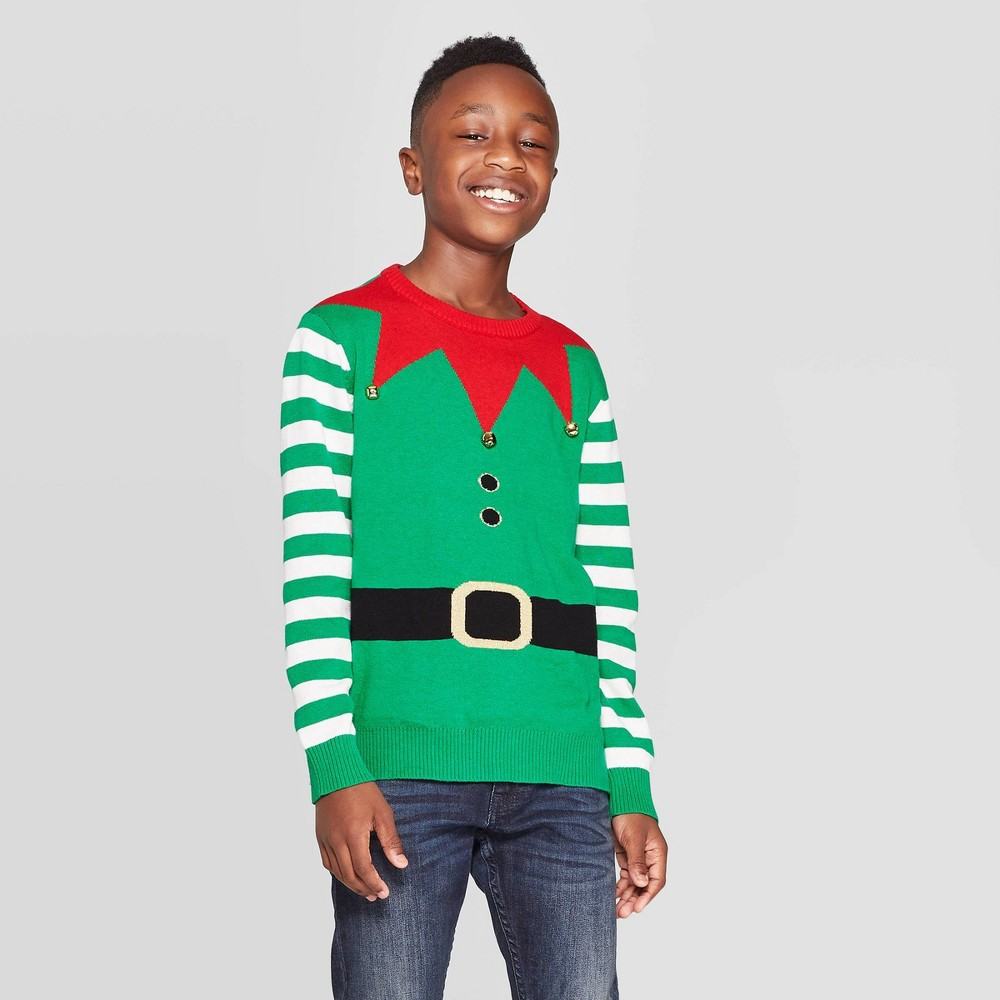 Image of Boys' Elf Long Sleeve Pullover Sweater - Green L, Boy's, Size: Large