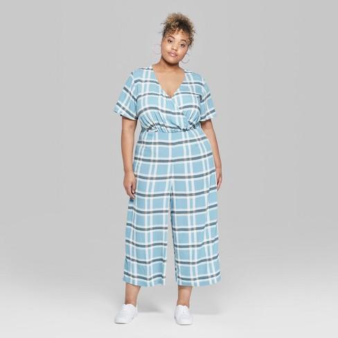 2eab6179e54 Women s Plus Size Plaid Short Sleeve Twist Front Jumpsuit - Wild Fable™ Blue  Stencil   Target