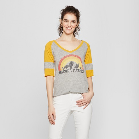 e4fcceb2a Women's Lion King 3/4 Sleeve Hakuna Matata Graphic T-Shirt (Juniors')  Heather Gray