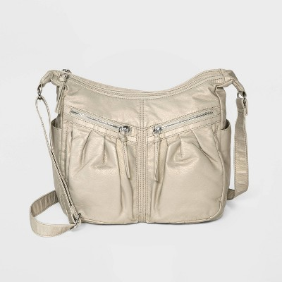 Bueno Zip Closure Crossbody Bag - Off White