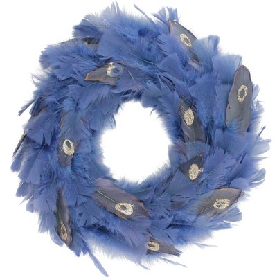"""Northlight 14"""" Unlit Blue Feather Artificial Christmas Wreath"""