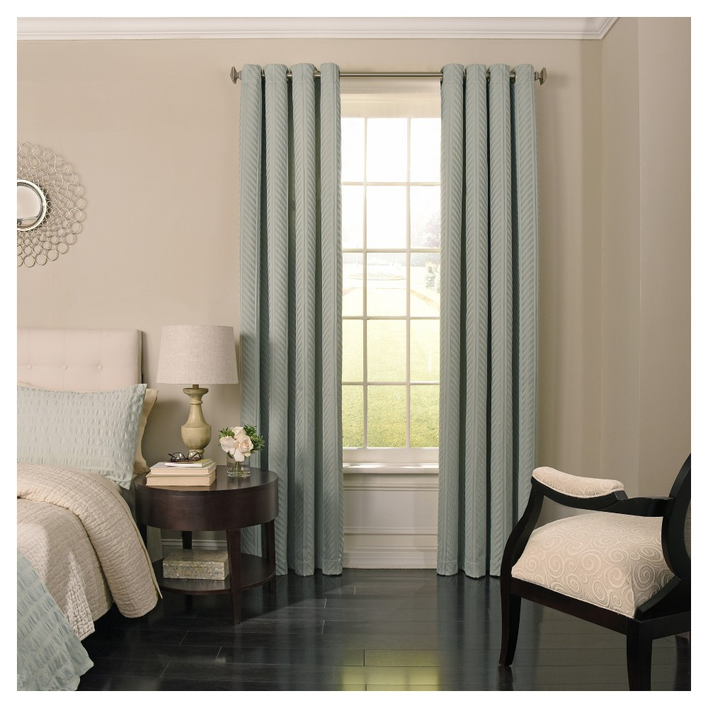 "Image of ""108""""x52"""" Malbrouk Blackout Curtain Panel Blue - Beautyrest"""