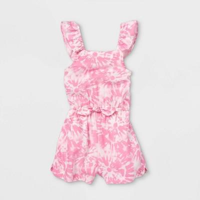 Toddler Girls' Tie-Dye Ruffle Sleeve Romper - Cat & Jack™ Pink