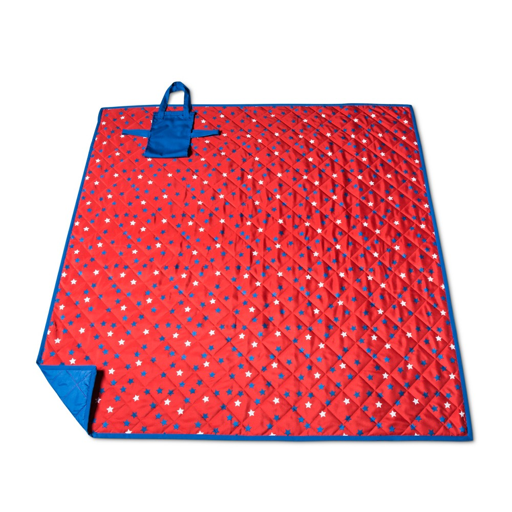Red And Blue Stars Picnic Blanket