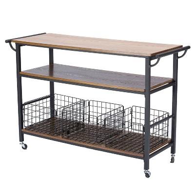 Lancashire Wood & Metal Kitchen Cart Brown - Baxton Studio