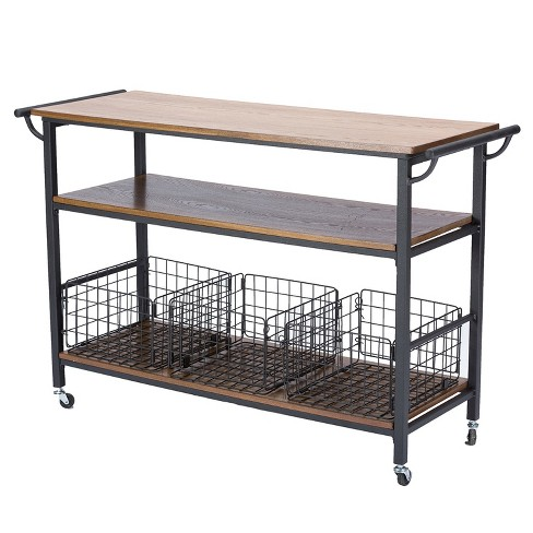 Lancashire Wood & Metal Kitchen Cart Brown - Baxton Studio