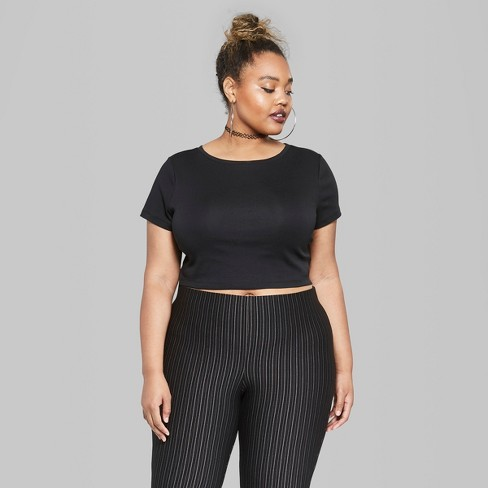 fc9cb2f2c86 Women s Plus Size Short Sleeve Cropped T-Shirt - Wild Fable™ Black 1X    Target