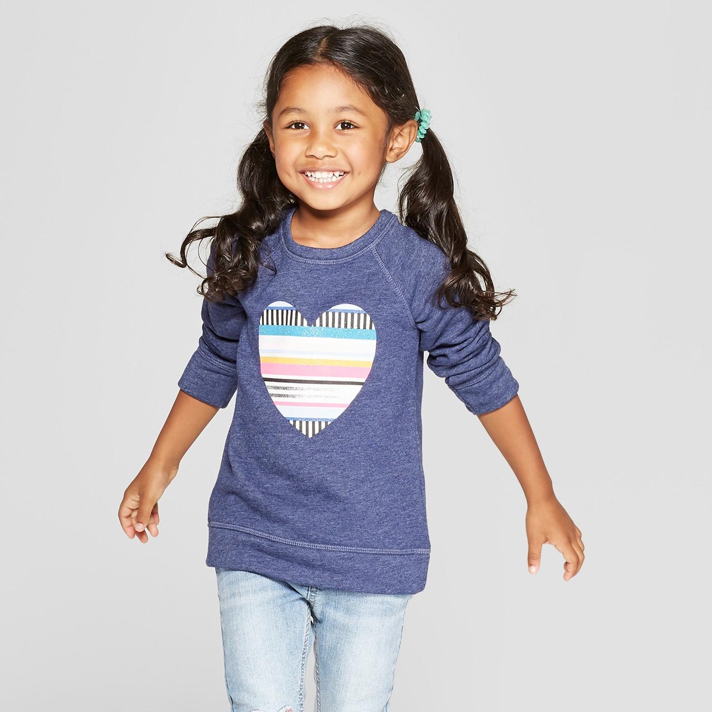 Toddler Girls' Heart Sweatshirt - Cat & Jack™ Navy - image 1 of 3