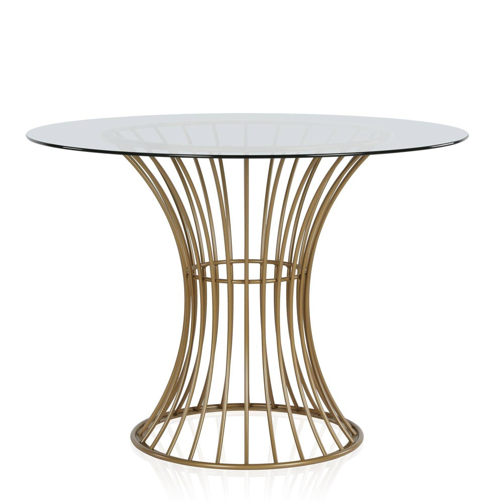 Image of Westwood Glass Top Dining Table With Tempered Glass Brass - CosmoLiving by Cosmopolitan, Gold