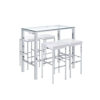 Lori Multipurpose Bar Dining Table Set White/Chrome - Picket House Furnishings