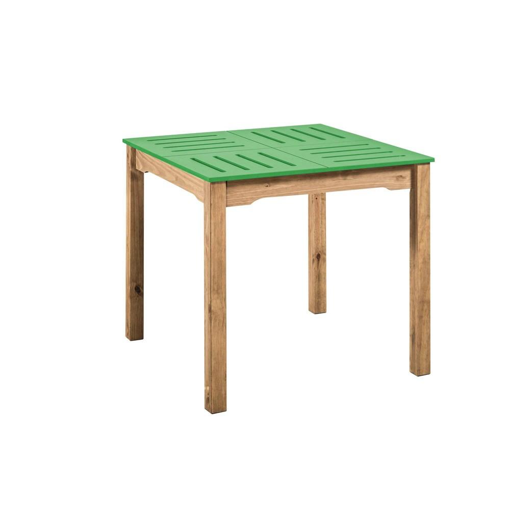 31.5 Mid Century Modern Stillwell Natural Wood Square Table Green - Manhattan Comfort