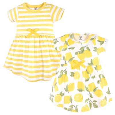 Touched by Nature Baby and Toddler Girl Organic Cotton Short-Sleeve Dresses 2pk, Lemon Tree