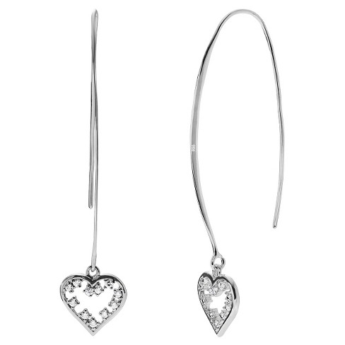1/5 CT. T.W. Round-cut CZ Heart Ear Pin Dangle Prong Set Earrings in Sterling Silver - Silver - image 1 of 2