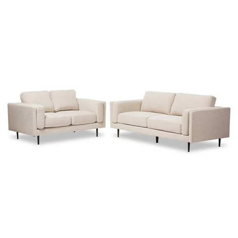 Brittany Retro Mid - Century Modern Fabric Upholstered 2 - Piece Living Room Set - Light Beige - Baxton Studio - image 1 of 3