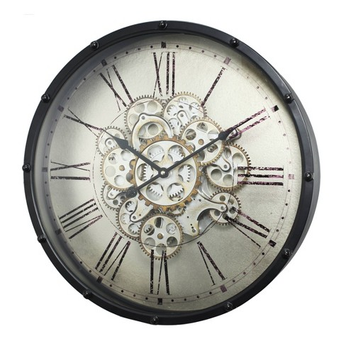 """18"""" Round Roman Numeral Gear Wall Clock Black - A&B Home - image 1 of 4"""