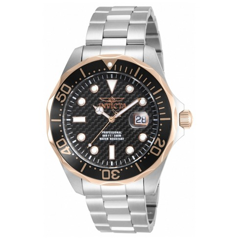 Men's Invicta Pro Diver 12567 Stainless Steel Carbon Dial Link Bracelet Watch - Silver/Black - image 1 of 2
