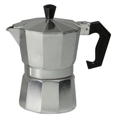 Home Basics 3 Cup Demitasse  Shot Aluminum Stovetop Espresso Maker, Grey
