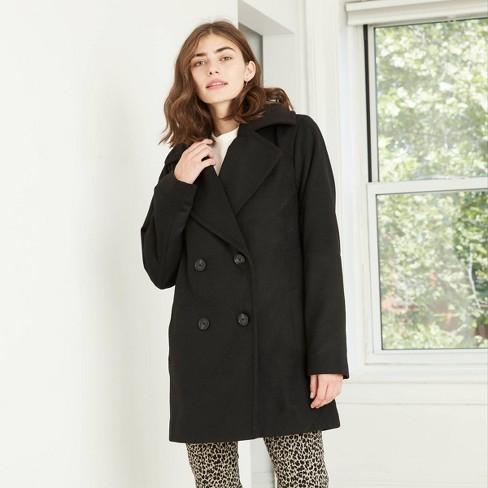 Women's Pea Coat - A New Day™ Black : Target