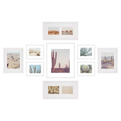 9pc Gallery Wall Floating Picture Frame Set with Hanging Template White - Gallery Perfect