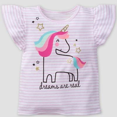 Gerber Baby Girls' 'Dreams are Real' Cap Sleeve Top - Pink 12M