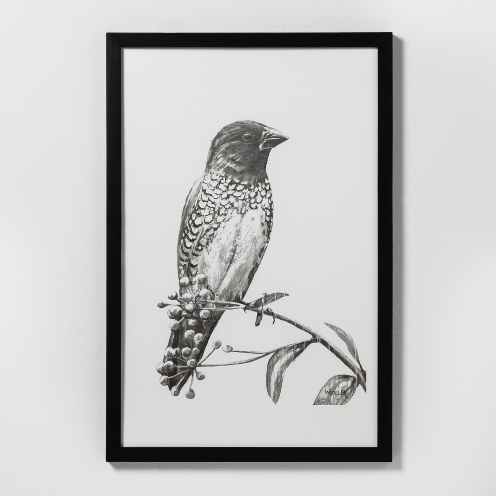 "Image of ""24"""" X 36"""" Sketched Bird on Branch Wall Art with Black Wood Frame - Hearth & Hand with Magnolia"""