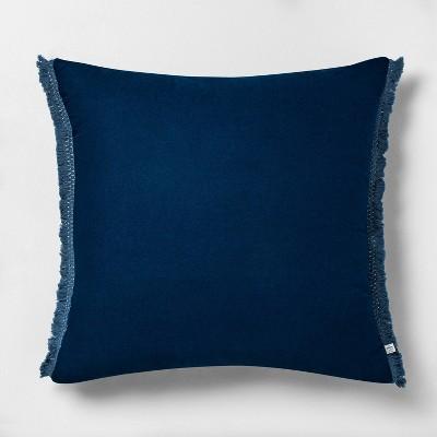 "22"" x 22"" Tonal Macramé Trim Throw Pillow Navy - Hearth & Hand™ with Magnolia"