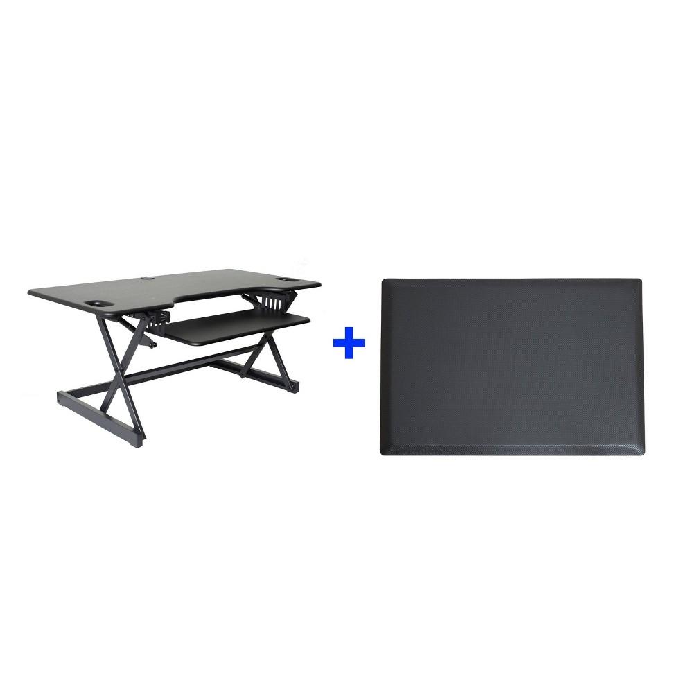 46 Adjustable Desk Riser with Medium Energizing Mat Black - Rocelco