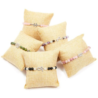 """Juvale 12 Pieces Velvet Bracelet Watch Pillow  3"""" x 3"""", Jewelry Display for Watches, Bracelets and Other Jewelry, Beige"""