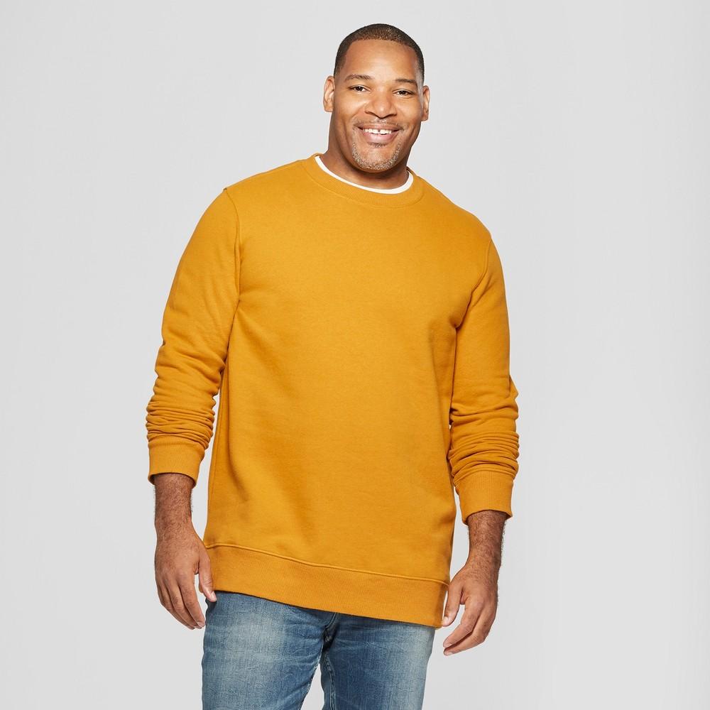 Men's Big & Tall Long Sleeve Crew Neck Fleece Sweatshirt - Goodfellow & Co Zesty Gold 2XB