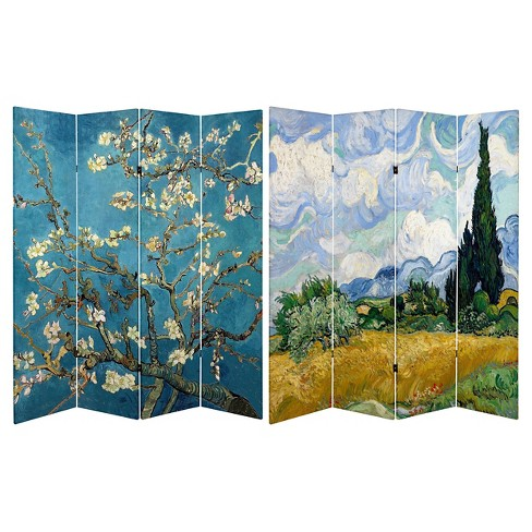 Van Gogh Fine Art Double Sided Room Divider Almond Blossoms and Wheat Field - Oriental Furniture - image 1 of 3