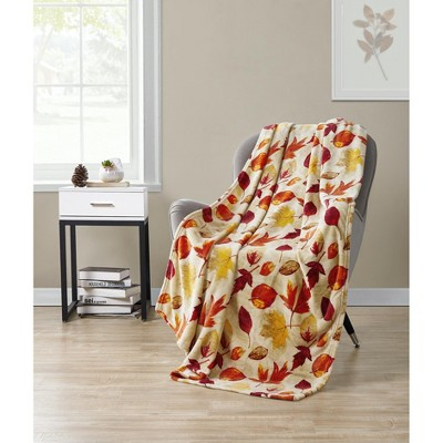 Kate Aurora Living Rustic Autumn Leaves Ultra Soft & Plush Throw Blanket Cover