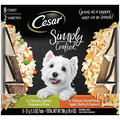 Cesar Simply Crafted Wet Dog Food Complement Chicken & Vegetables Varieties - 1.3oz/8ct Variety Pack