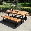 Rectangular Acacia Wood Patio Dining Table - Teak - Captiva Designs - image 4 of 4