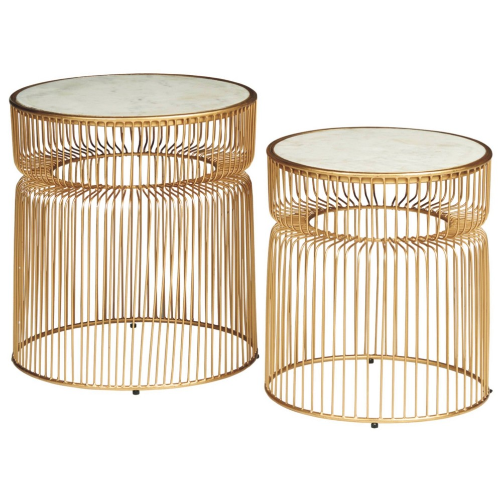 Set Of 2 Vernway Accent Tables White Gold Signature Design By Ashley