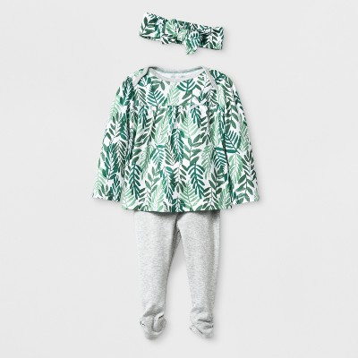 Baby Girls' 3pc Top and Bottom Set - Cloud Island™ Green 3-6M
