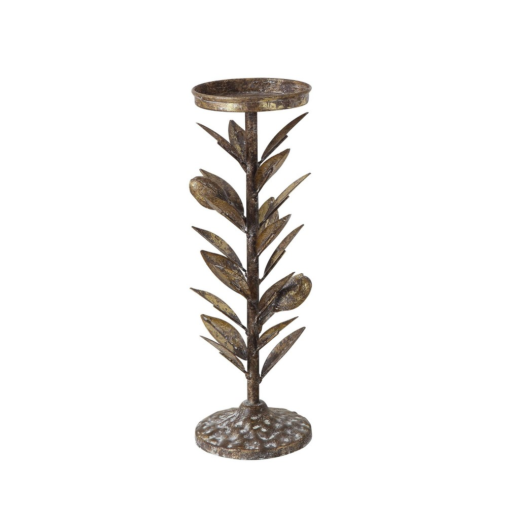 "Image of ""11.75"""" Metal Candle Holder with Olive Leaf - 3R Studio, Gold"""