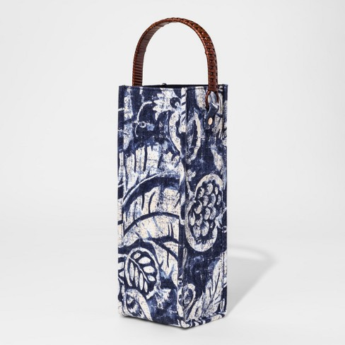 Fabric Wine Bag with Rattan Handle Blue Palms - Threshold™ - image 1 of 1